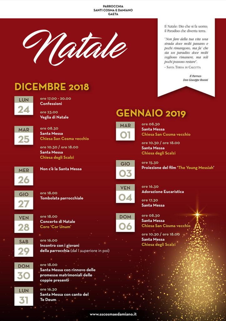 Programma celebrazioni del Natale 2018